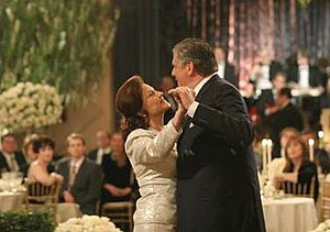 Wedding Bell Blues (Gilmore Girls) - An episodic screenshot displaying Emily and Richard having their first dance.