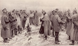 "Christmas truce - An artist's impression from The Illustrated London News of 9 January 1915: ""British and German Soldiers Arm-in-Arm Exchanging Headgear: A Christmas Truce between Opposing Trenches"""