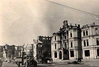 Khreshchatyk - The City Duma building was heavily damaged during the World War II bombings of Kiev.