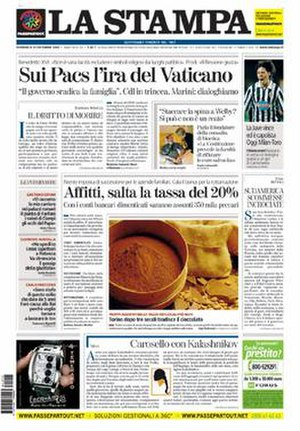 La Stampa - Image: La Stampa front page 2006 12 10