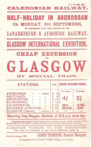 Lanarkshire and Ayrshire Railway - The first train timetable for the line in 1888