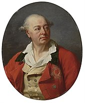 Oval portrait of a man in a red coat wearing the Order of Saint Hubert, a star with red enamel.