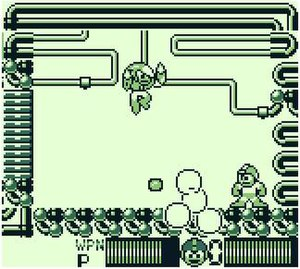 Mega Man II (Game Boy) - The game continues the Game Boy series trend of recycling elements from the two consecutive NES titles: Mega Man 2 and Mega Man 3. Shown here is the boss fight with Crash Man.