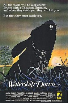 A sunset depicting Bigwig in a snare, with the title in fancy font and the credits below.