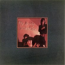 "A saturated red image of four people surrounded by a grey border. Text inside the image reads ""My Bloody Valentine Ecstasy""."