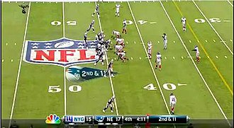 The scoring banner used from 2012 to 2014, starting with the 2011 NFL Wild Card playoffs to Week 17 of the 2014 NFL regular season. Notice the addition of timeout indicators at the bottom, and the cleaner and larger looking font in the team's initials. NFLonNBC2012.jpg