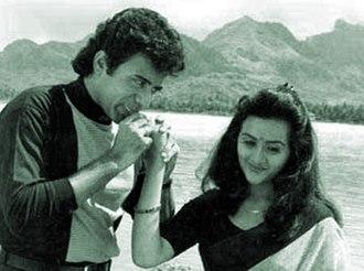 Njan Gandharvan - Nitish Bharadwaj and Suparna Anand in a scene from the film Njan Gandharvan.