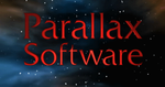 "The words ""Parallax"" and ""Software"" in red, aligned vertically, superimposed over a collage of stars"