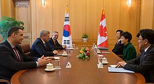 Park Geun-hye and South Korean delegation receive Stephen Harper and Canadian delegation on 11 March 2014.jpg