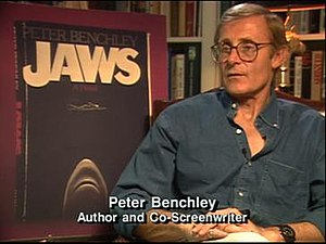 "Peter Benchley - Benchley being interviewed about Jaws in ""A Look Inside Jaws"", produced by Laurent Bouzereau."