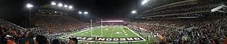 Reser Stadium - Panoramic view from the southeast end zone during the night game against Washington in November 2007