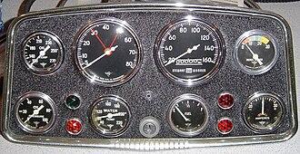 """Stewart-Warner - Mid-1950s Stewart-Warner automotive instruments in """"Hollywood"""" panel"""