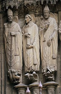 Jamb statues of Saints Martin, Jerome, and Gregory