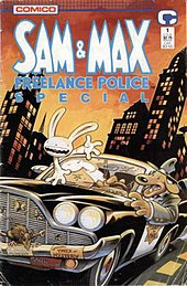 "A anthropomorphic dog in a suit and fedora drives a police DeSoto through a cityscape, while an anthropomorphic rabbit climbs out the window. An array of dead insects and a rat have been collected on the car's grille. The title ""Sam & Max"" is displayed prominently, with ""Freelance Police Special"" below."