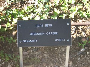 Hermann Friedrich Graebe - Memorial sign at Yad Vashem commemorating Hermann Graebe being titled as one of the Righteous Among the Nations.