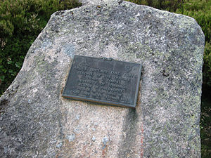Lairig Ghru - Plaque now attached to a rock marking the site of the Sinclair Memorial Hut.