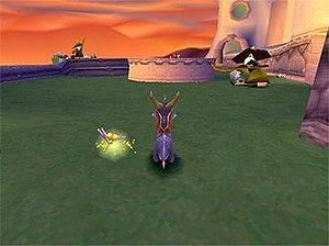 Spyro the Dragon (video game) - Gameplay on a Sony PlayStation showing Spyro and his companion Sparx in the first boss level 'Toasty'.