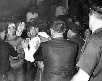 "Stonewall riots - This photograph appeared in the front page of The New York Daily News on Sunday, June 29, 1969, showing the ""street kids"" who were the first to fight with the police."