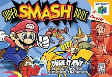 Image of various Nintendo characters fighting: Mario rushing at Pikachu, Fox punching Samus, Link holding his shield and Kirby waving at the player, with a Bob-omb next to him.
