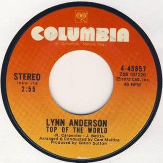 Top of the World (The Carpenters song) - Image: Top Of The World by Lynn Anderson US side label vinyl