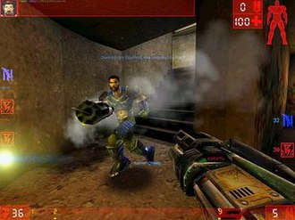 Unreal Tournament - A typical game of Domination in progress.