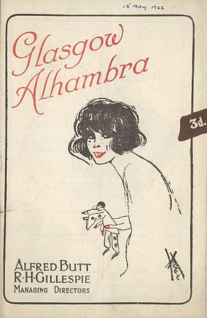 Alhambra Theatre Glasgow - 1922 Alhambra Theatre Playbill