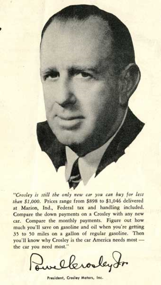 Powel Crosley Jr. - Late 1940s automobile advertisement with photograph of Powel Crosley Jr. - Sarasota County History Center