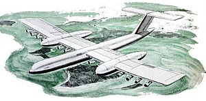 Boeing RC-1 - Artist's impression of the RC-1 cargo aircraft over northern Canada. The pods on the wings are almost the size of a 747SP.