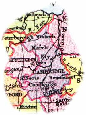 Cambridgeshire - Map of the Cambridgeshire area (1904)