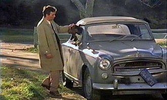 """Columbo (character) - The Peugeot 403 Cabriolet used in filming. Peter Falk and Dog in Season 7 Episode 4 titled """"How to Dial a Murder"""" that aired on April 15, 1978"""