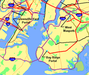 Cross-Harbor Rail Tunnel - New York Harbor area, showing locations of facilities proposed for a Cross-Harbor Rail Tunnel. Railroad lines are red and orange, major highways are purple and black.