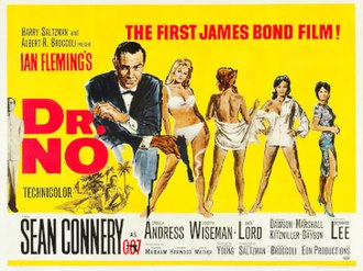 Dr. No (film) - British cinema poster for Dr. No, designed by David Chasman and illustrated by Mitchell Hooks.