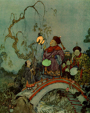 "Edmund Dulac - Dulac illustration for Hans Christian Andersen's ""The Nightingale"""