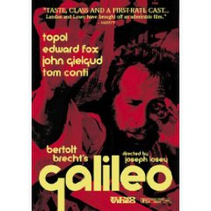Galileo (1975 film) - DVD cover art (2003). Galileo, as played by Topol, learns to make a telescope using two lenses.