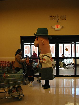 Sausage Race - Brett Wurst, the bratwurst, at the grand opening of the West Milwaukee Pick 'n Save