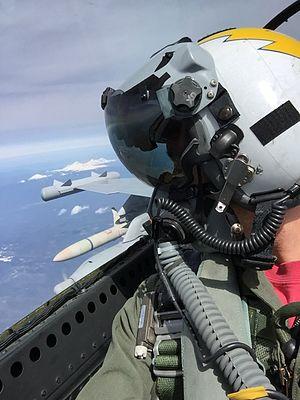 VAQ-131 - A Lancer pilot looks over his wingman