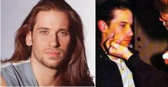 Todd Manning - A young Howarth with Todd's vintage, long-haired look (left). A makeup artist applying Todd's scar to Howarth (right); the scar stretches in a curve across the character's right cheek, and appears a thin, medium red in its significantly healed version.