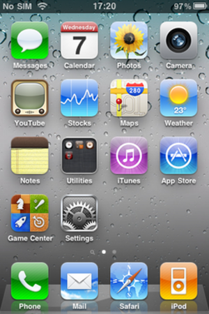 IOS 4 - Image: IOS 4 Homescreen