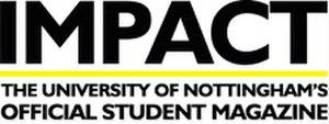 Impact (student magazine) - Image: Impact white Logo with website copy