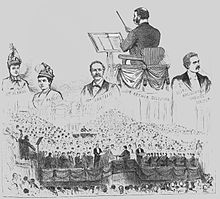 Drawing of scenes from the festival premiere of The Golden Legend showing the chorus, the faces of the principal singers and Sullivan's back, as he stands conducting. Black and white.