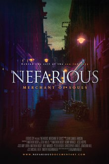 "A photograph of a narrow street lit by street lamps with the word ""Nefarious"" superimposed on top in white and the words ""Merchant of Souls"" in orange below"
