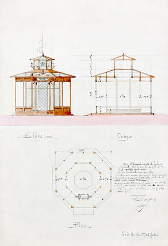 Aviary - Proposed architectural design for a French military aviary to house swallows as messenger birds, based upon a scheme by Jean Desbouvrie, 1889.