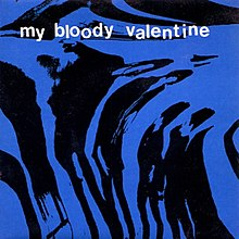 "A warped black and blue image of four musicians. White lowercase text above reads ""my bloody valentine""."