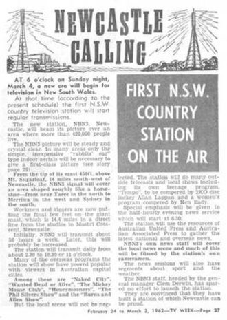 NBN Television - TV Week reporting NBN as the first regional station in New South Wales in 1962.