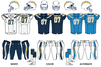 NFL Chargers uniforms