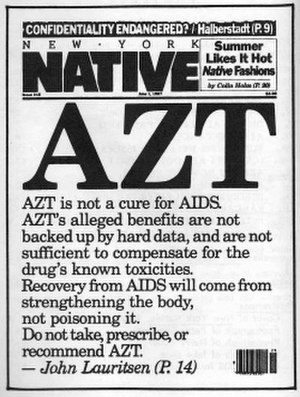 New York Native - Cover of the 1 June 1987 issue of the New York Native, featuring an article by John Lauritsen on AZT.