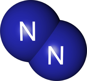 A computer rendering of the nitrogen molecule,...