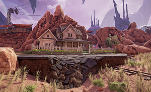 Obduction (video game) - Within Obduction, small spheres of human environments, such as a portion of this house and the land in front of it, have been transported to an alien environment, and players must solve puzzles that mix the human and alien elements.