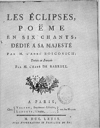 Roger Joseph Boscovich - French translation of Bošković's De solis ac lunae defectibus.