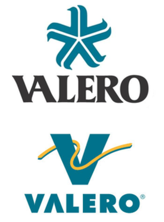 Valero Energy - Previous logos used by Valero.  Top: original company logo from 1980.  Below: Logo used until 2018.